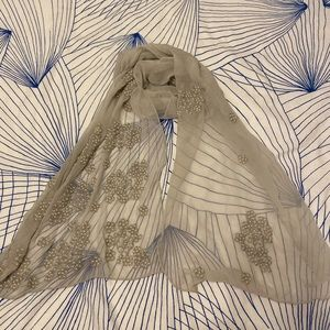 Pearl embroidered Neck Scarf